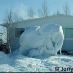 Frozen elephant ice scultpure