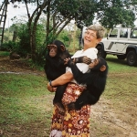 Jo Haigh and two orphan chimps