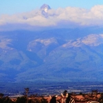 The peeks peak out.  Mt. Kenya from Sweetwaters