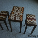 Three small laminated tables