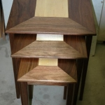 nesting tables, walnut and maple