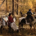 Reindeer riders in a larch forest